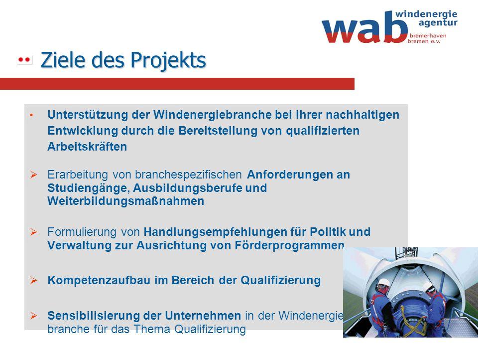 Ziele des Projekts Unterstützung der Windenergiebranche bei Ihrer nachhaltigen Entwicklung durch die Bereitstellung von qualifizierten Arbeitskräften
