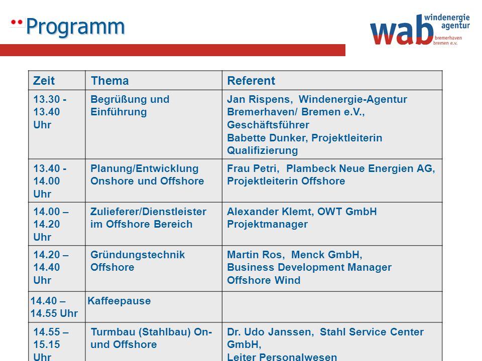 Programm ZeitThemaReferent 13.30 - 13.40 Uhr Begrüßung und Einführung Jan Rispens, Windenergie-Agentur Bremerhaven/ Bremen e.V., Geschäftsführer Babet