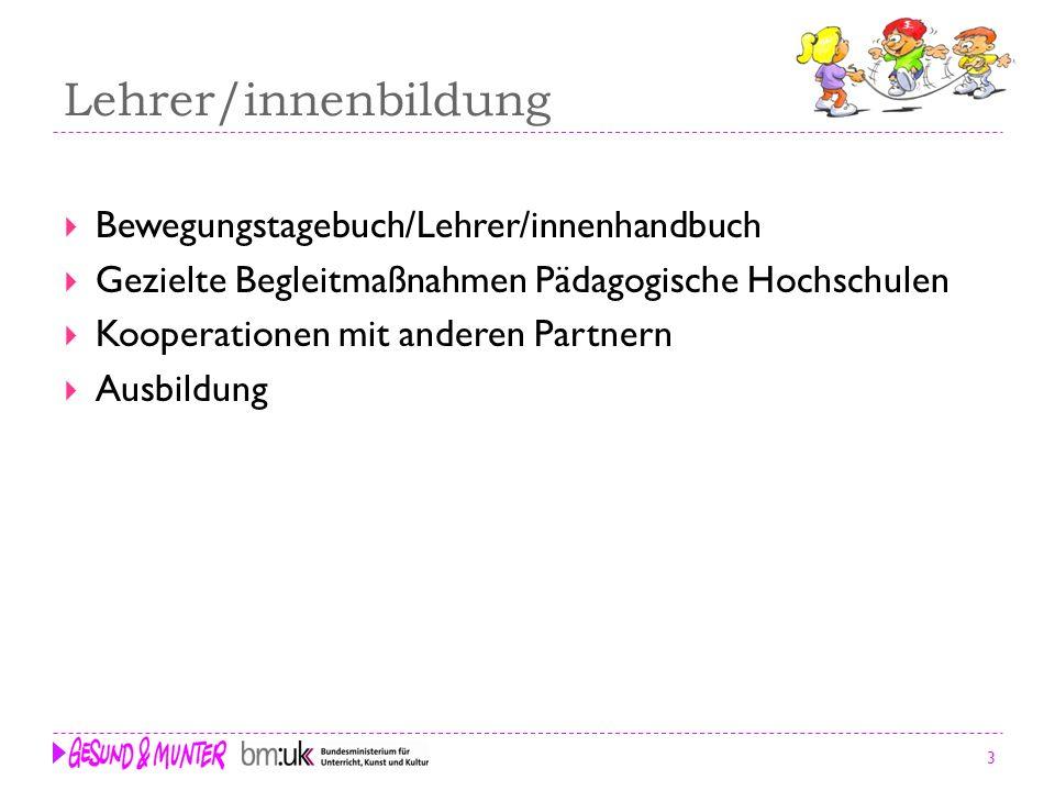 3 Lehrer/innenbildung Bewegungstagebuch/Lehrer/innenhandbuch Gezielte Begleitmaßnahmen Pädagogische Hochschulen Kooperationen mit anderen Partnern Aus