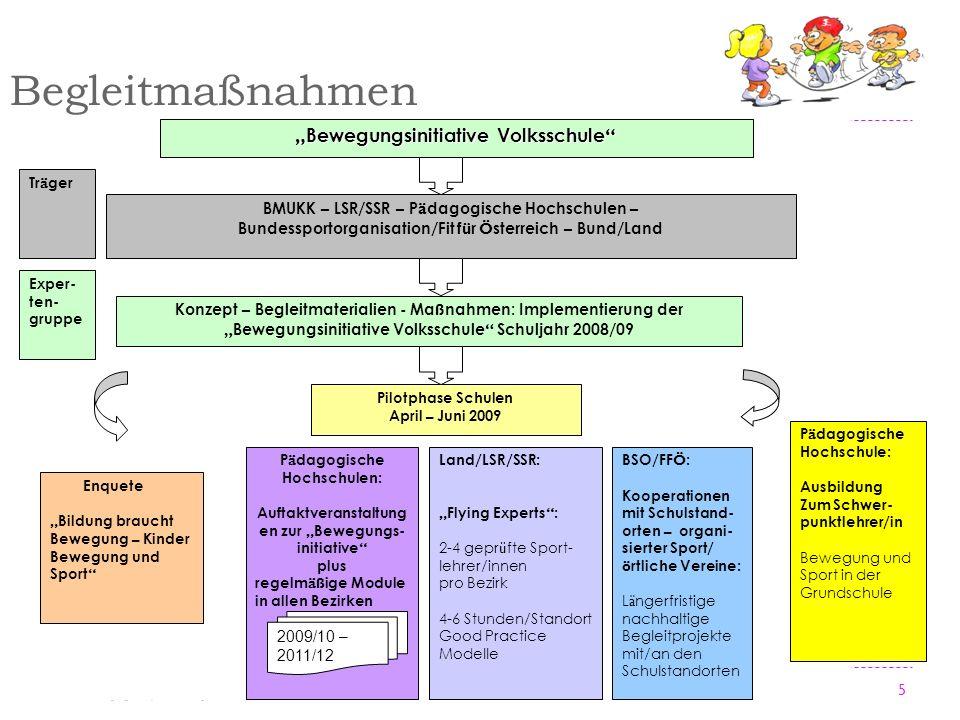 5 Begleitmaßnahmen BMUKK – LSR/SSR – P ä dagogische Hochschulen – Bundessportorganisation/Fit f ü r Ö sterreich – Bund/Land Konzept – Begleitmateriali