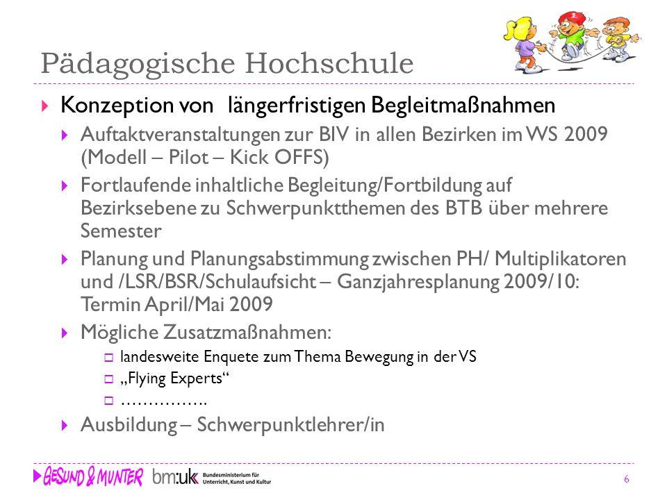 6 Pädagogische Hochschule Konzeption von längerfristigen Begleitmaßnahmen Auftaktveranstaltungen zur BIV in allen Bezirken im WS 2009 (Modell – Pilot