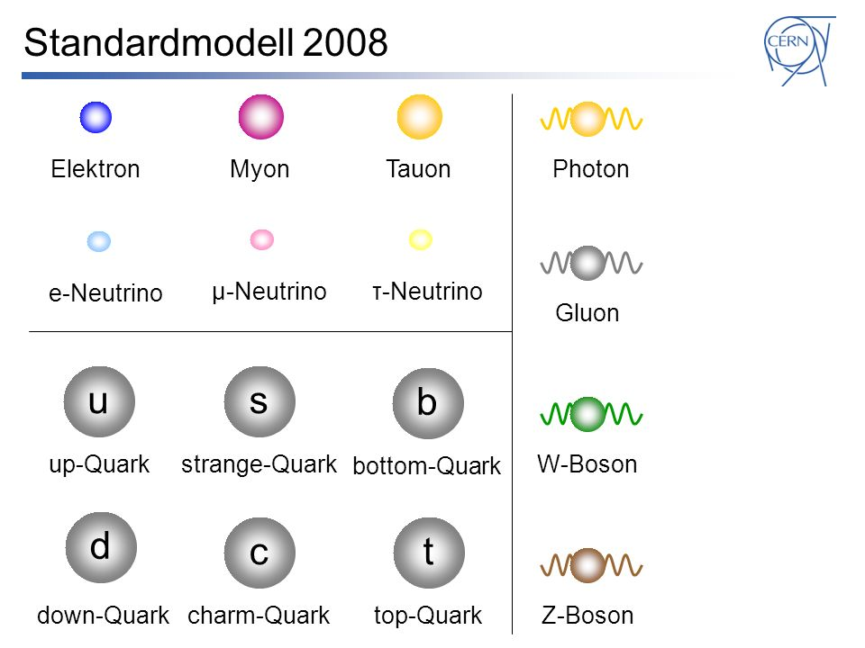 Standardmodell 2008 Elektron e-Neutrino Myon su d up-Quark down-Quark strange-Quark μ-Neutrinoτ-Neutrino b bottom-Quark Tauon c charm-Quark t top-Quark Photon Gluon W-Boson Z-Boson