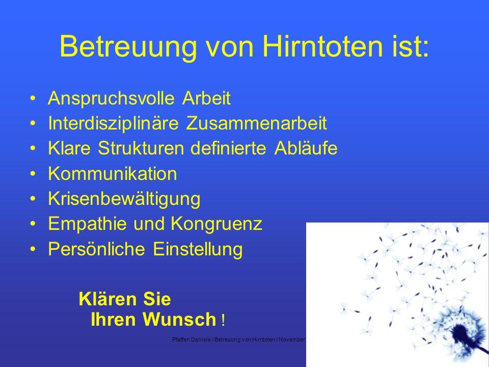 Pfaffen Daniela / Betreuung von Hirntoten / November 200723 Betreuung von Hirntoten ist: Anspruchsvolle Arbeit Interdisziplinäre Zusammenarbeit Klare