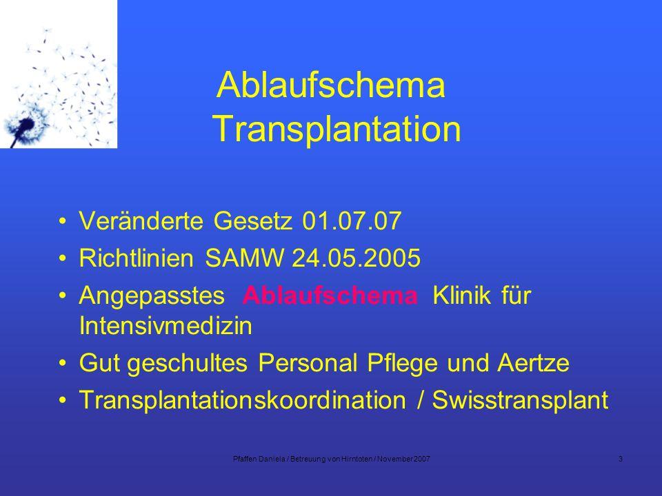 Pfaffen Daniela / Betreuung von Hirntoten / November 200714 Organerhaltende Therapie Adäquate Organperfusion Hämodynamik Volumentherapie Ausscheidung warme Peripherie Temperatur Elektrolyte / Blutzucker Gerinnungssystem / Hämoglobin Kontrollierte Beatmung Intensives Monitoring FSOD Swiss Fondation Organ Donor