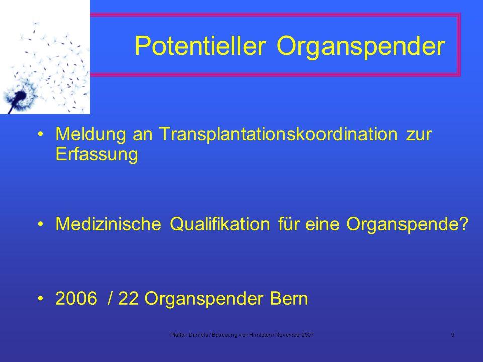 Pfaffen Daniela / Betreuung von Hirntoten / November 20079 Potentieller Organspender Meldung an Transplantationskoordination zur Erfassung Medizinisch