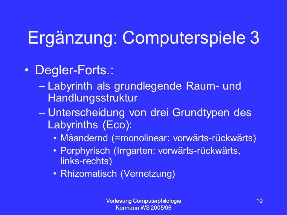 Vorlesung Computerphilologie Kormann WS 2005/06 10 Ergänzung: Computerspiele 3 Degler-Forts.: –Labyrinth als grundlegende Raum- und Handlungsstruktur