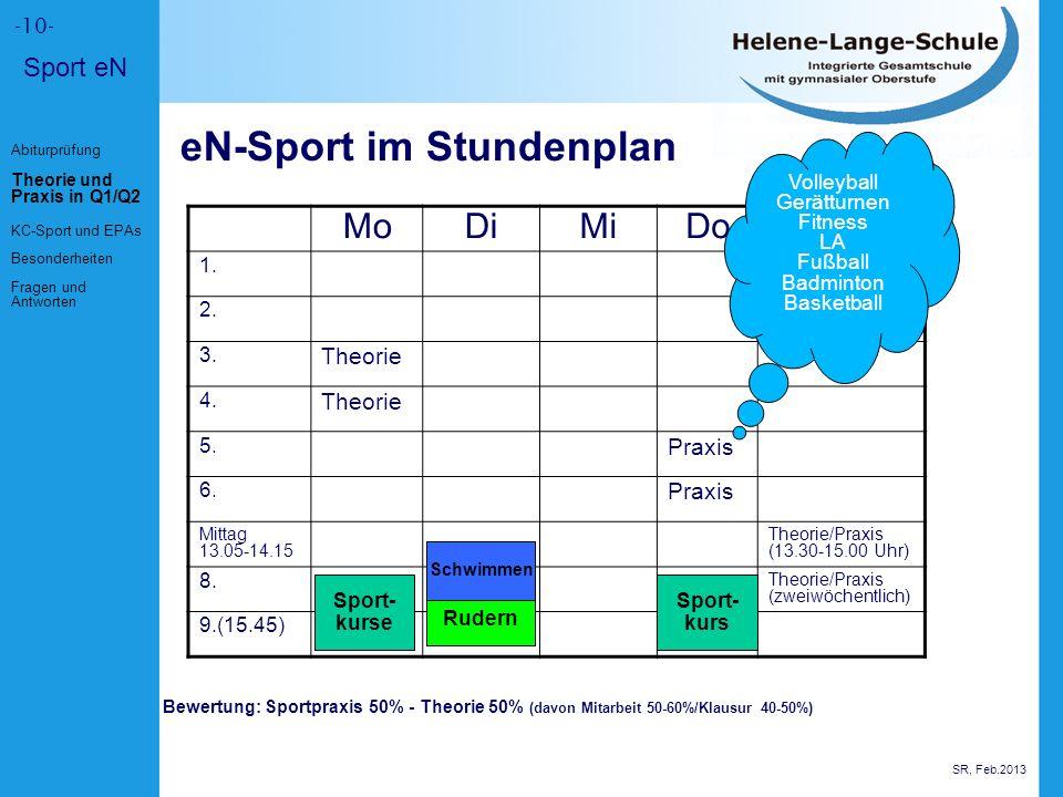 -10- Sport eN eN-Sport im Stundenplan MoDiMiDoFr 1.