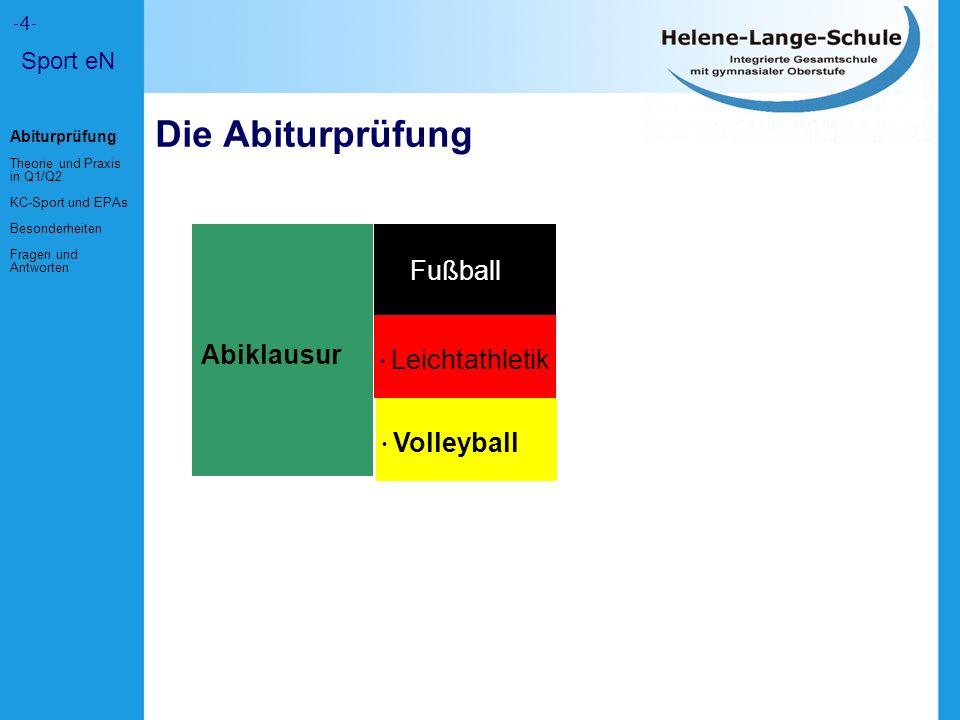 Die Abiturprüfung Abiklausur Fußball Leichtathletik Volleyball Sport eN -4- Abiturprüfung Theorie und Praxis in Q1/Q2 KC-Sport und EPAs Besonderheiten Fragen und Antworten