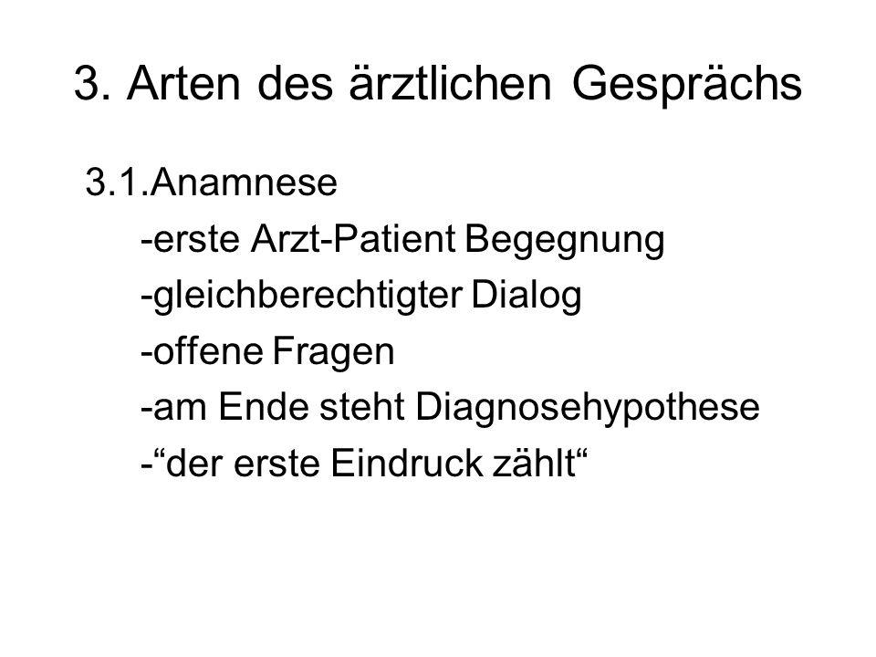 3. Arten des ärztlichen Gesprächs 3.1.Anamnese -erste Arzt-Patient Begegnung -gleichberechtigter Dialog -offene Fragen -am Ende steht Diagnosehypothes