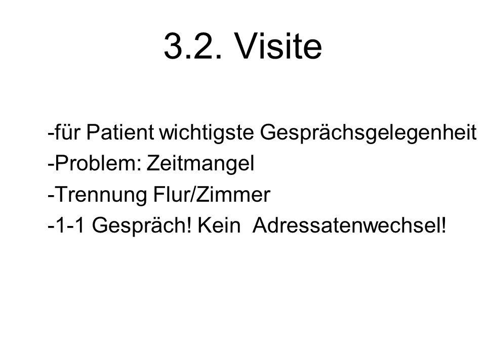 3.2. Visite -für Patient wichtigste Gesprächsgelegenheit -Problem: Zeitmangel -Trennung Flur/Zimmer -1-1 Gespräch! Kein Adressatenwechsel!
