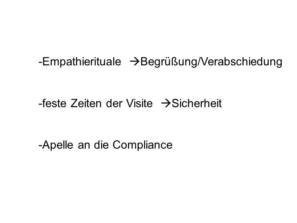 -Empathierituale Begrüßung/Verabschiedung -feste Zeiten der Visite Sicherheit -Apelle an die Compliance