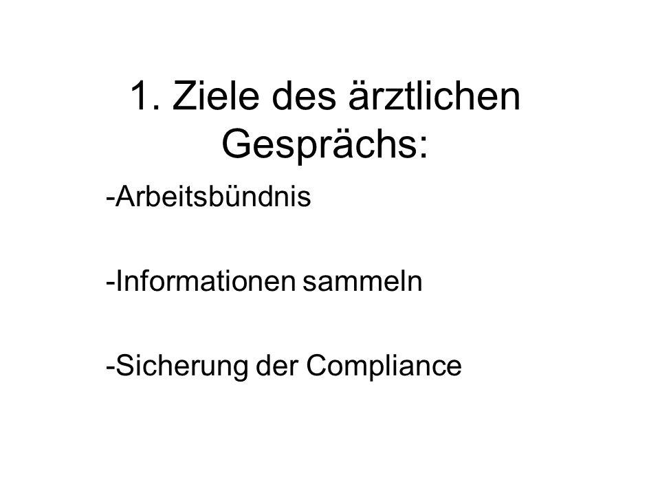 1. Ziele des ärztlichen Gesprächs: -Arbeitsbündnis -Informationen sammeln -Sicherung der Compliance