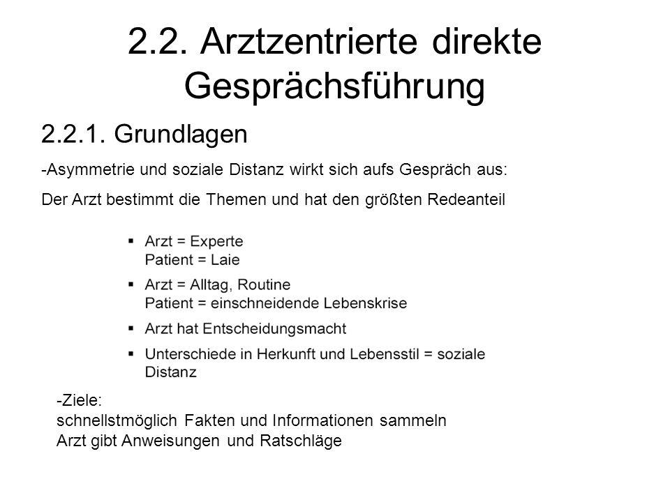 2.2. Arztzentrierte direkte Gesprächsführung 2.2.1. Grundlagen -Asymmetrie und soziale Distanz wirkt sich aufs Gespräch aus: Der Arzt bestimmt die The