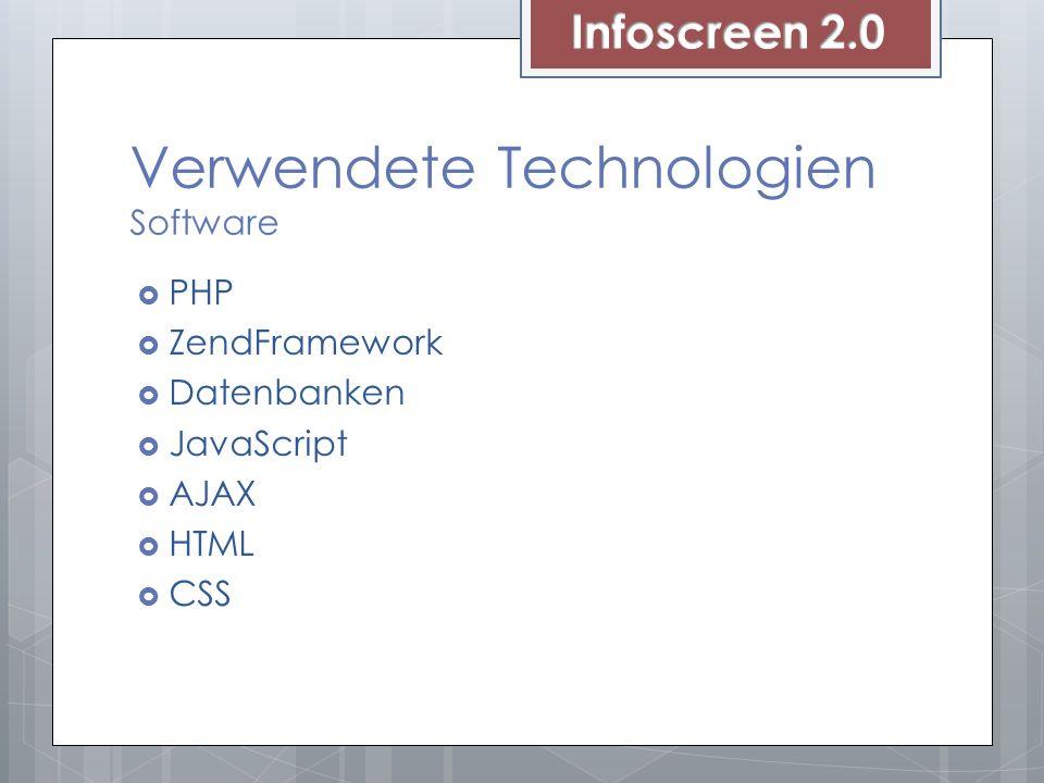 Verwendete Technologien Software PHP ZendFramework Datenbanken JavaScript AJAX HTML CSS