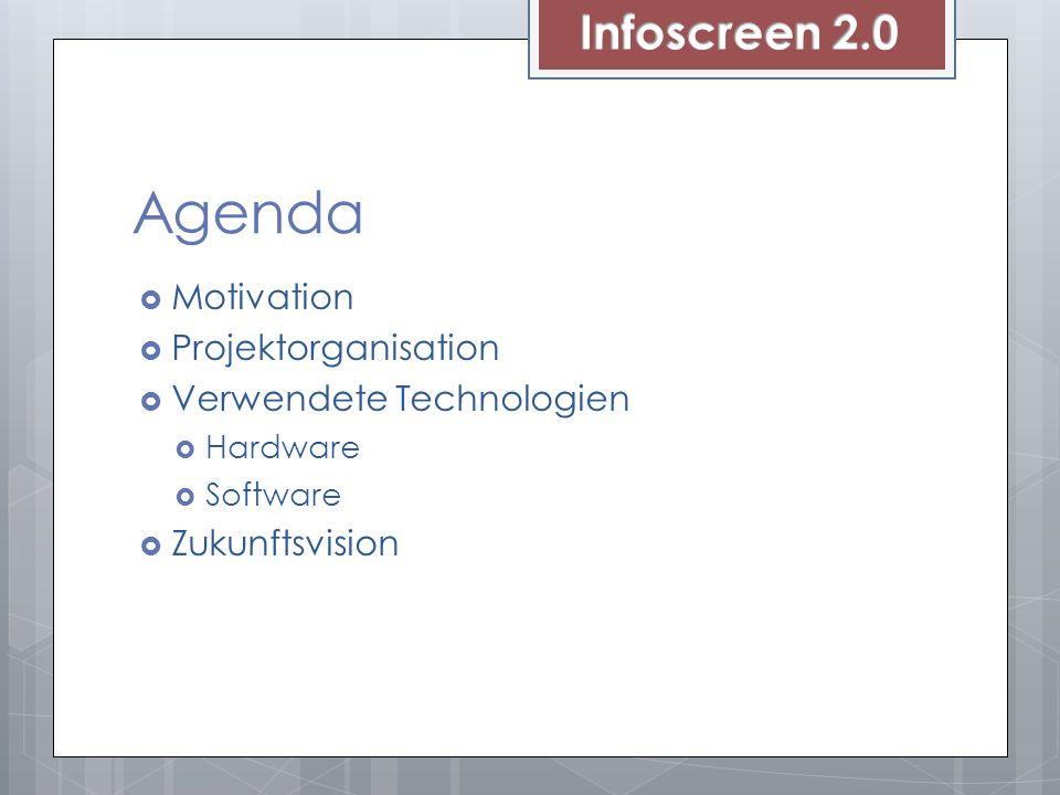 Agenda Motivation Projektorganisation Verwendete Technologien Hardware Software Zukunftsvision