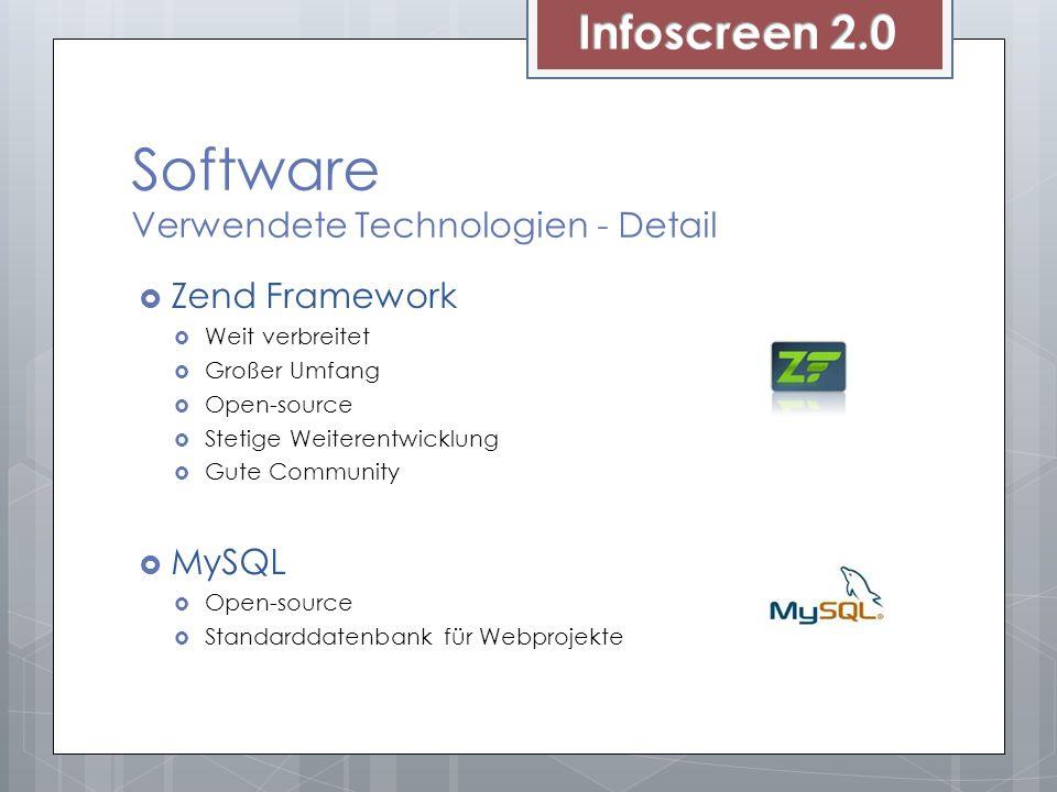 Software Verwendete Technologien - Detail Zend Framework Weit verbreitet Großer Umfang Open-source Stetige Weiterentwicklung Gute Community MySQL Open