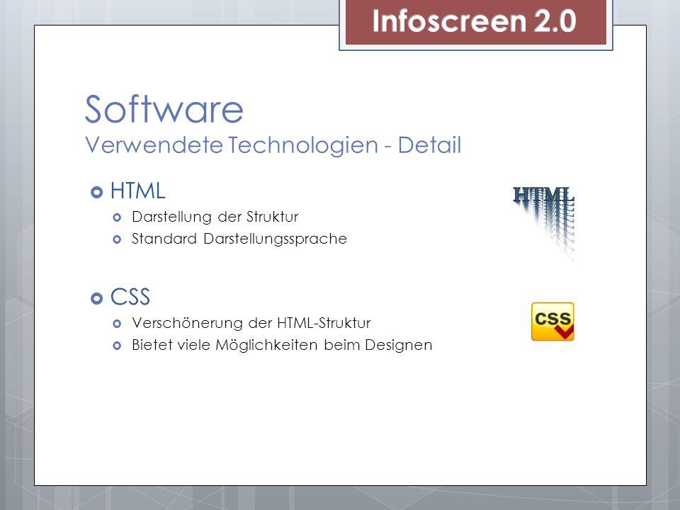 Software Verwendete Technologien - Detail HTML Darstellung der Struktur Standard Darstellungssprache CSS Verschönerung der HTML-Struktur Bietet viele