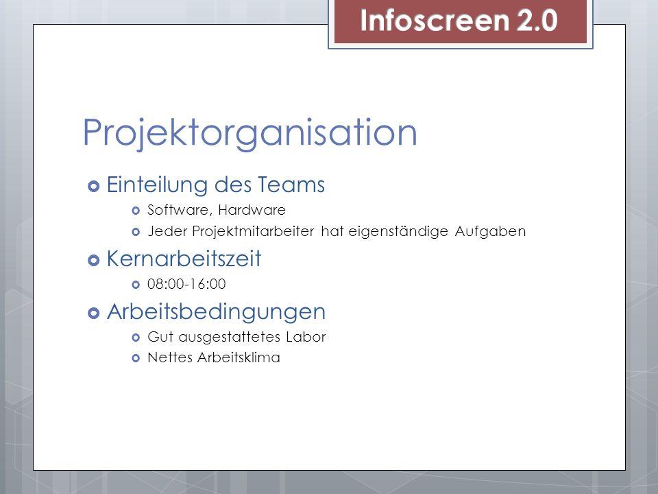 Projektorganisation Einteilung des Teams Software, Hardware Jeder Projektmitarbeiter hat eigenständige Aufgaben Kernarbeitszeit 08:00-16:00 Arbeitsbed