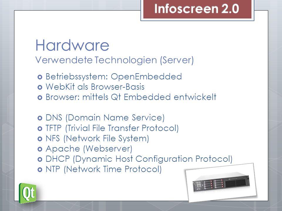 Hardware Verwendete Technologien (Server) Betriebssystem: OpenEmbedded WebKit als Browser-Basis Browser: mittels Qt Embedded entwickelt DNS (Domain Na