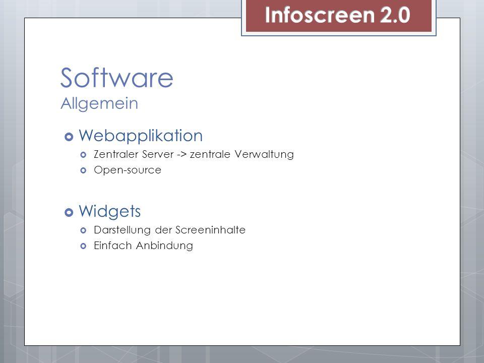 Software Allgemein Webapplikation Zentraler Server -> zentrale Verwaltung Open-source Widgets Darstellung der Screeninhalte Einfach Anbindung