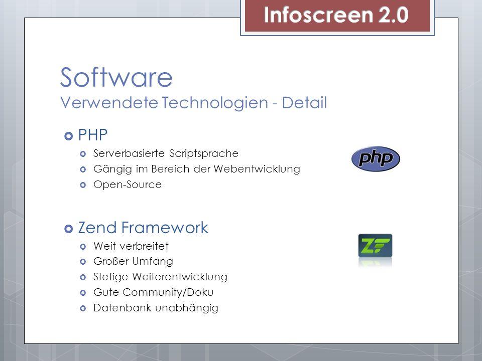 Software Verwendete Technologien - Detail PHP Serverbasierte Scriptsprache Gängig im Bereich der Webentwicklung Open-Source Zend Framework Weit verbreitet Großer Umfang Stetige Weiterentwicklung Gute Community/Doku Datenbank unabhängig