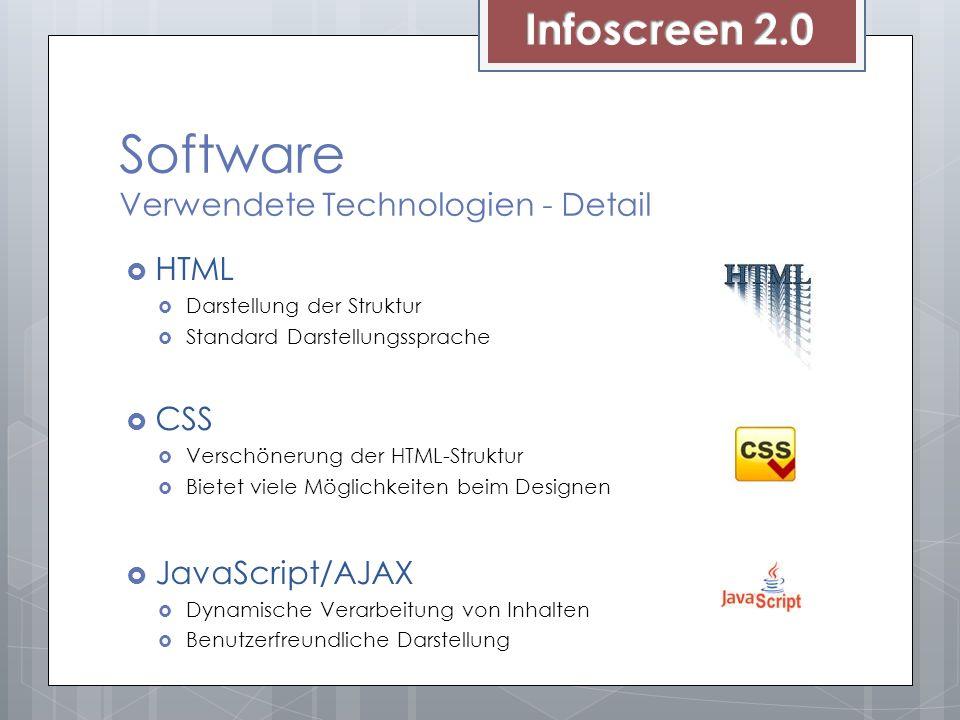 Software Verwendete Technologien - Detail HTML Darstellung der Struktur Standard Darstellungssprache CSS Verschönerung der HTML-Struktur Bietet viele Möglichkeiten beim Designen JavaScript/AJAX Dynamische Verarbeitung von Inhalten Benutzerfreundliche Darstellung