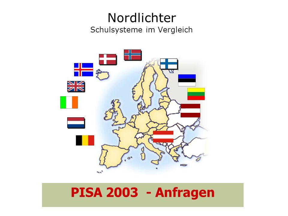 Nordlichter Schulsysteme im Vergleich PISA 2003 - Anfragen