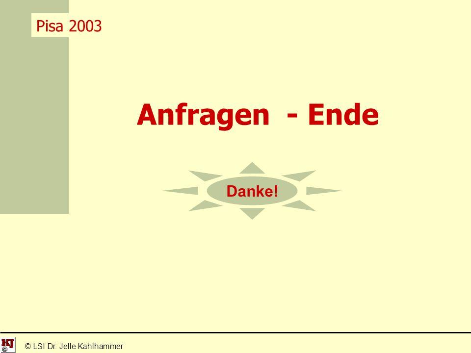© LSI Dr. Jelle Kahlhammer Pisa 2003 Anfragen - Ende Danke!