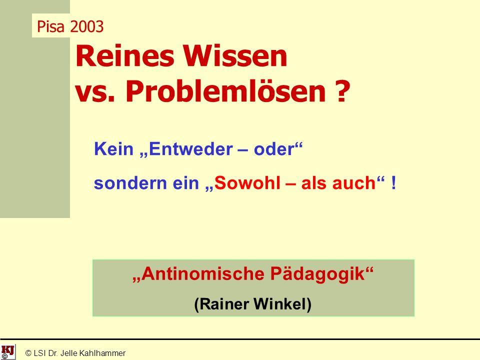 Reines Wissen vs. Problemlösen . © LSI Dr.
