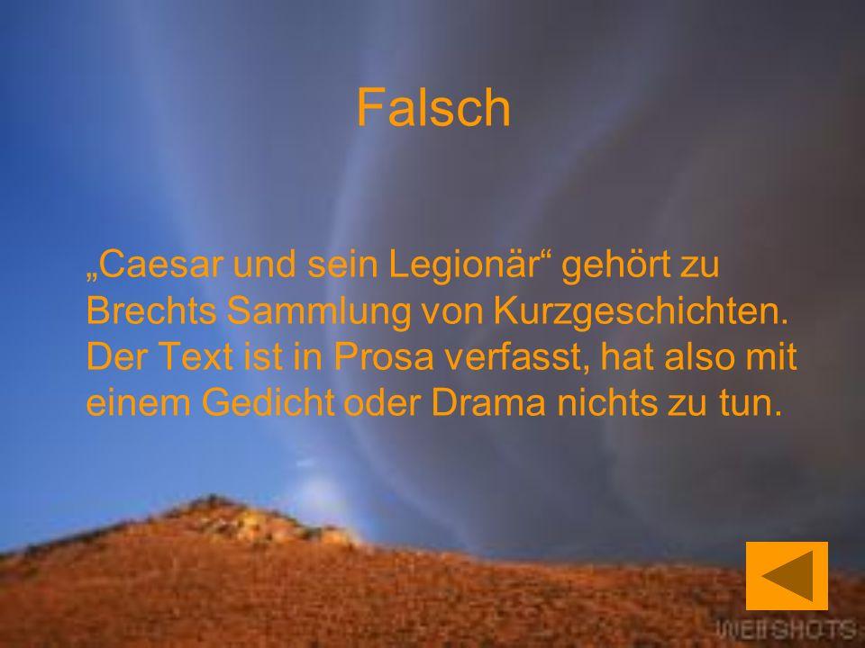 Caesar und sein Legionär gehört zu Brechts Sammlung von Kurzgeschichten.