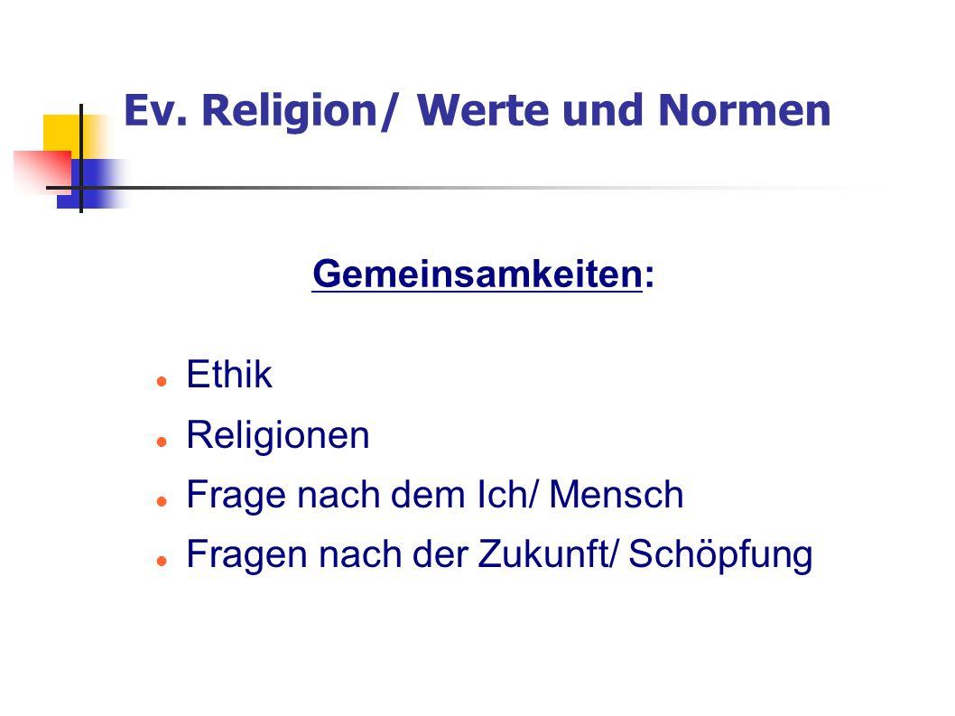 Ev. Religion/ Werte und Normen Ethik Religionen Frage nach dem Ich/ Mensch Fragen nach der Zukunft/ Schöpfung Gemeinsamkeiten: