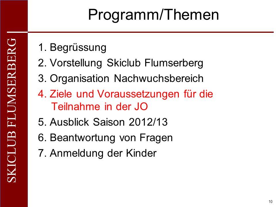 O+IO+I 10 SKICLUB FLUMSERBERG Programm/Themen 1. Begrüssung 2. Vorstellung Skiclub Flumserberg 3. Organisation Nachwuchsbereich 4. Ziele und Vorausset