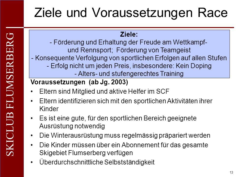 O+IO+I 13 SKICLUB FLUMSERBERG Ziele und Voraussetzungen Race Voraussetzungen (ab Jg. 2003) Eltern sind Mitglied und aktive Helfer im SCF Eltern identi