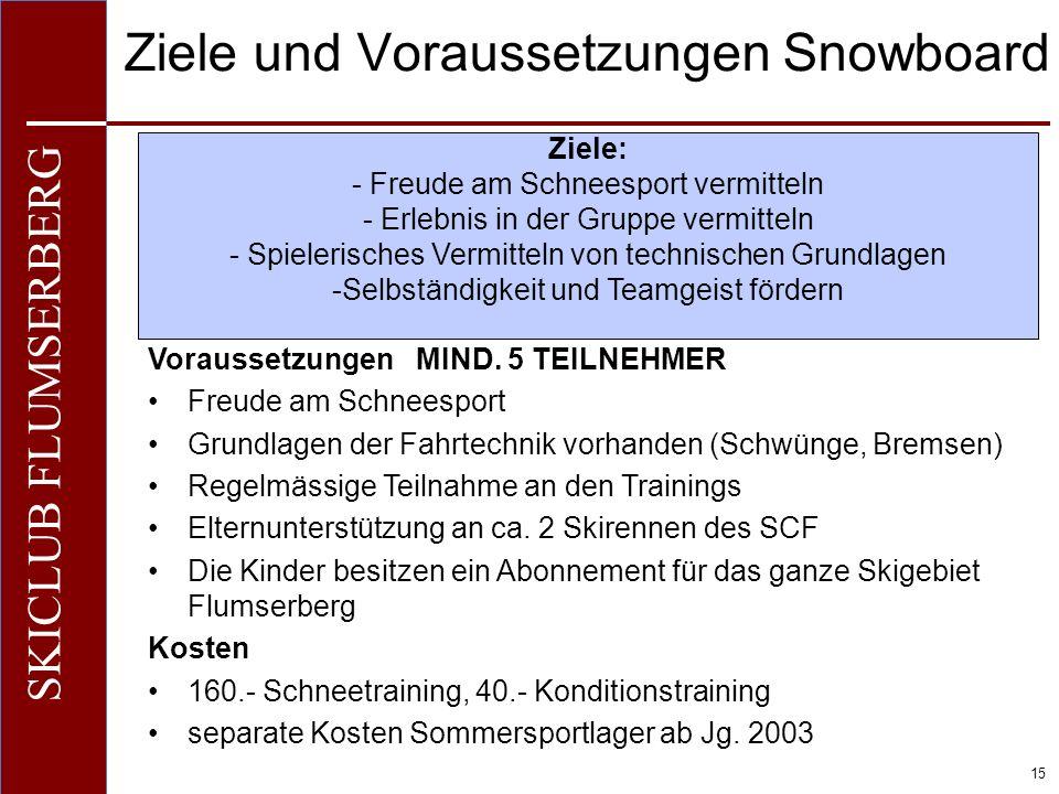 O+IO+I 15 SKICLUB FLUMSERBERG Ziele und Voraussetzungen Snowboard Voraussetzungen MIND. 5 TEILNEHMER Freude am Schneesport Grundlagen der Fahrtechnik