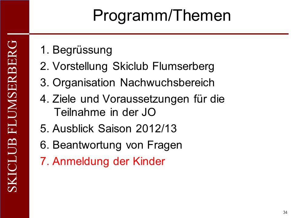 O+IO+I 34 SKICLUB FLUMSERBERG Programm/Themen 1. Begrüssung 2. Vorstellung Skiclub Flumserberg 3. Organisation Nachwuchsbereich 4. Ziele und Vorausset