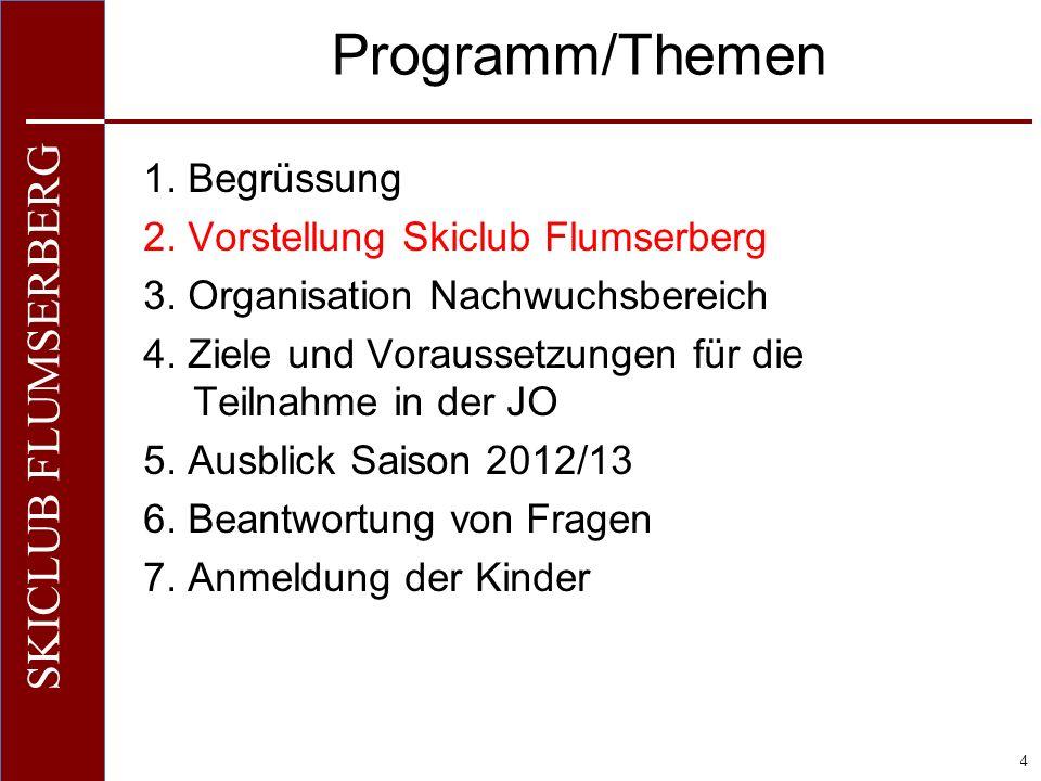 O+IO+I 4 SKICLUB FLUMSERBERG Programm/Themen 1. Begrüssung 2. Vorstellung Skiclub Flumserberg 3. Organisation Nachwuchsbereich 4. Ziele und Voraussetz