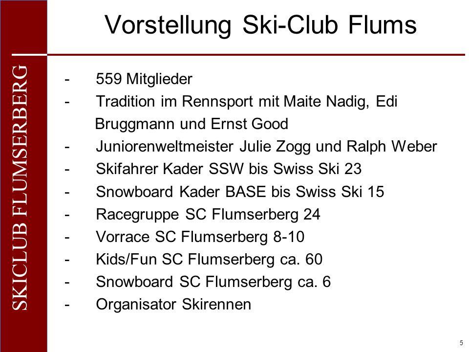 O+IO+I 5 SKICLUB FLUMSERBERG Vorstellung Ski-Club Flums -559 Mitglieder -Tradition im Rennsport mit Maite Nadig, Edi Bruggmann und Ernst Good -Juniore