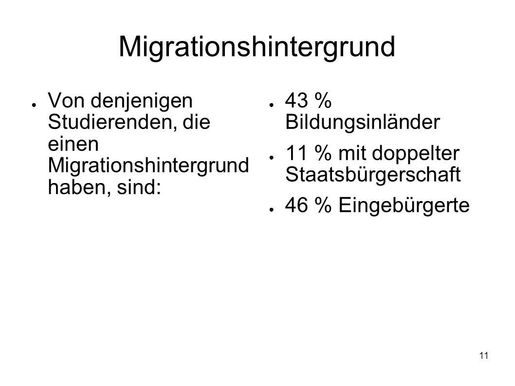 11 Migrationshintergrund Von denjenigen Studierenden, die einen Migrationshintergrund haben, sind: 43 % Bildungsinländer 11 % mit doppelter Staatsbürg