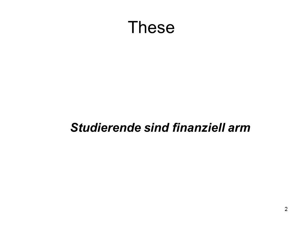 3 Unterthesen Ob Studierende sich als arm definieren, ist unabhängig von Einkommen Der Herkunftsort ist ein wesentlicher Faktor in Bezug auf Armut Ausländische Studierende / Migranten haben weniger Geld zur Verfügung als einheimische Studierende Studierende definieren Armut über Bildung, nicht über Geld