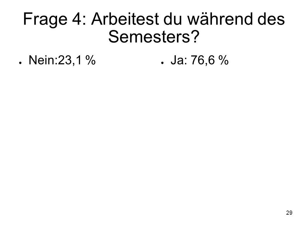 29 Frage 4: Arbeitest du während des Semesters? Nein:23,1 % Ja: 76,6 %