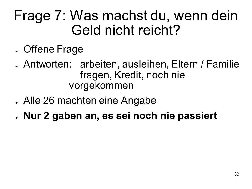 38 Frage 7: Was machst du, wenn dein Geld nicht reicht? Offene Frage Antworten:arbeiten, ausleihen, Eltern / Familie fragen, Kredit, noch nie vorgekom