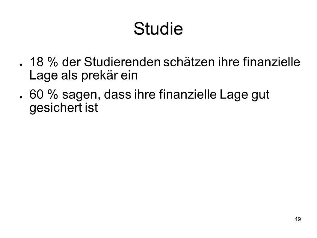 49 Studie 18 % der Studierenden schätzen ihre finanzielle Lage als prekär ein 60 % sagen, dass ihre finanzielle Lage gut gesichert ist