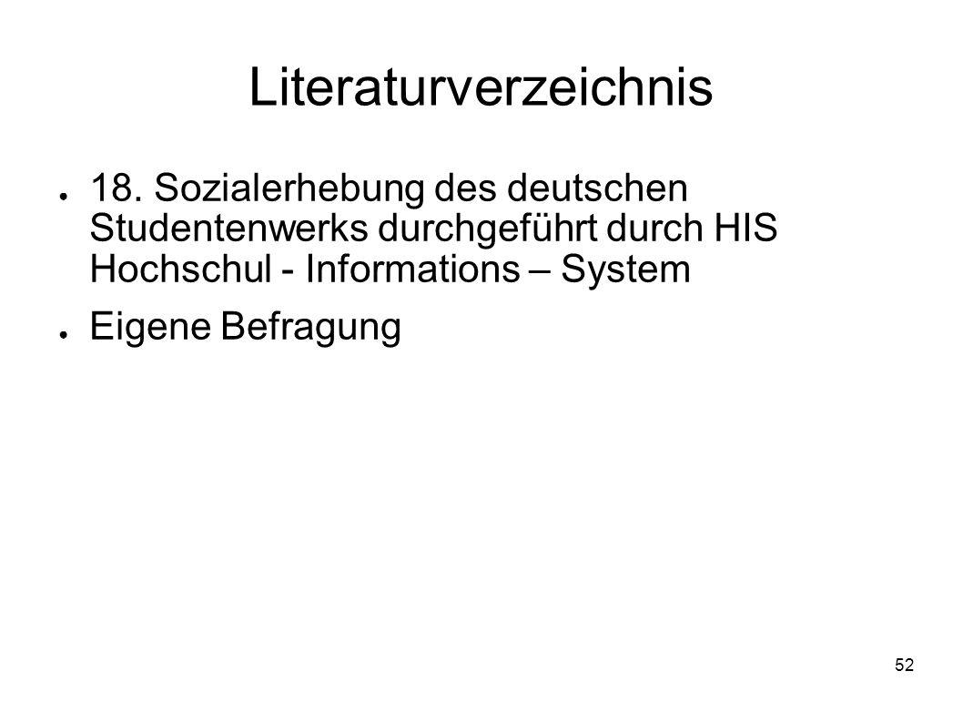 52 Literaturverzeichnis 18. Sozialerhebung des deutschen Studentenwerks durchgeführt durch HIS Hochschul - Informations – System Eigene Befragung