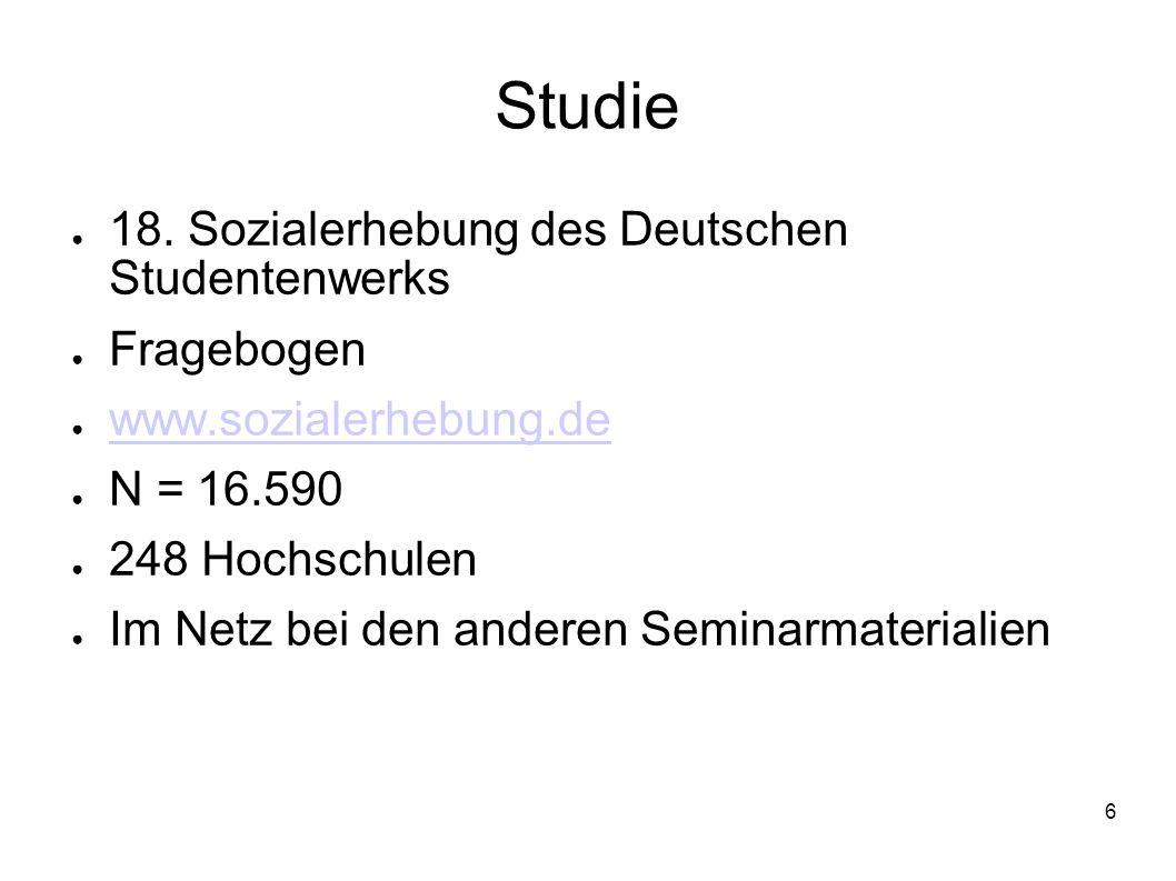 6 Studie 18. Sozialerhebung des Deutschen Studentenwerks Fragebogen www.sozialerhebung.de N = 16.590 248 Hochschulen Im Netz bei den anderen Seminarma