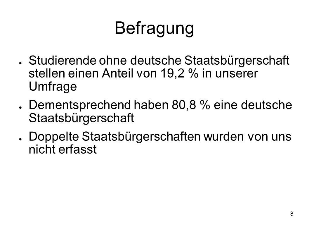 8 Befragung Studierende ohne deutsche Staatsbürgerschaft stellen einen Anteil von 19,2 % in unserer Umfrage Dementsprechend haben 80,8 % eine deutsche