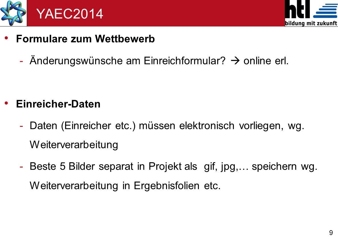 10 YAEC2014 Fragen -Vorab Begutachtung vor Jury-Sitzung wer macht was Wird dieses Jahr nicht durchgeführt.