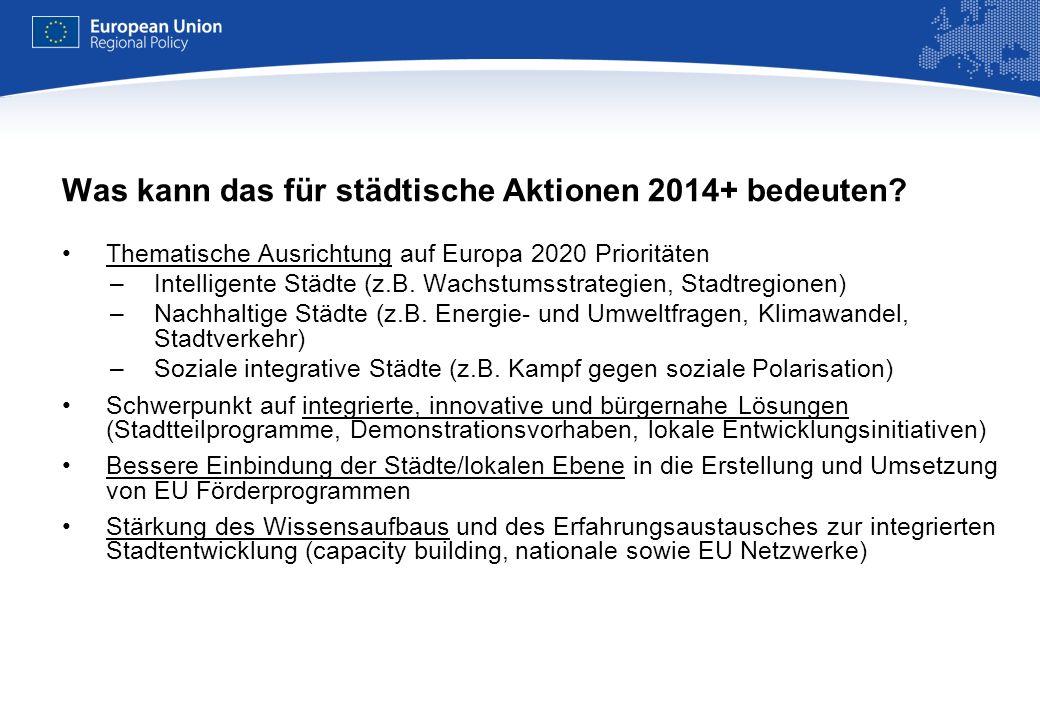 REGIONAL POLICY EUROPEAN COMMISSION Einige wichtige offene Fragen Budget-Diskussion (2010/11): Zukünftige Bedeutung der Kohäsions/Regionalpolitik Politische Unterstützung für eine gestärkte städtische Dimension der EU Kohäsionspolitik –Bereitschaft der Mitgliedsstaaten.