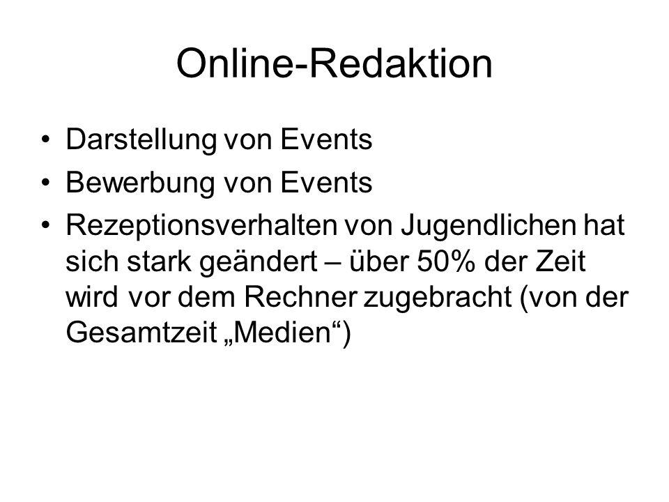 Online-Redaktion Darstellung von Events Bewerbung von Events Rezeptionsverhalten von Jugendlichen hat sich stark geändert – über 50% der Zeit wird vor