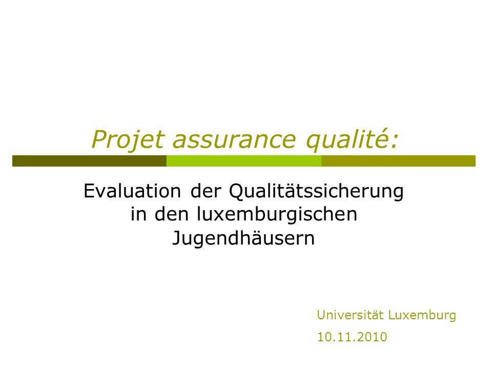 Projet assurance qualité: Evaluation der Qualitätssicherung in den luxemburgischen Jugendhäusern Universität Luxemburg 10.11.2010
