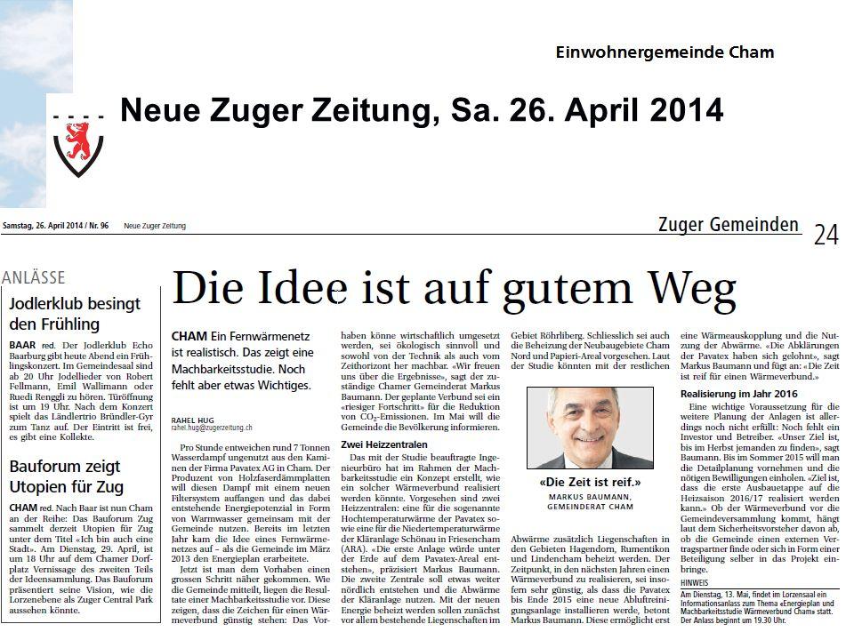 Neue Zuger Zeitung, Sa. 26. April 2014